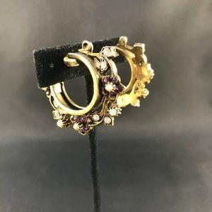 Vintage golden hoop clips with purple stones